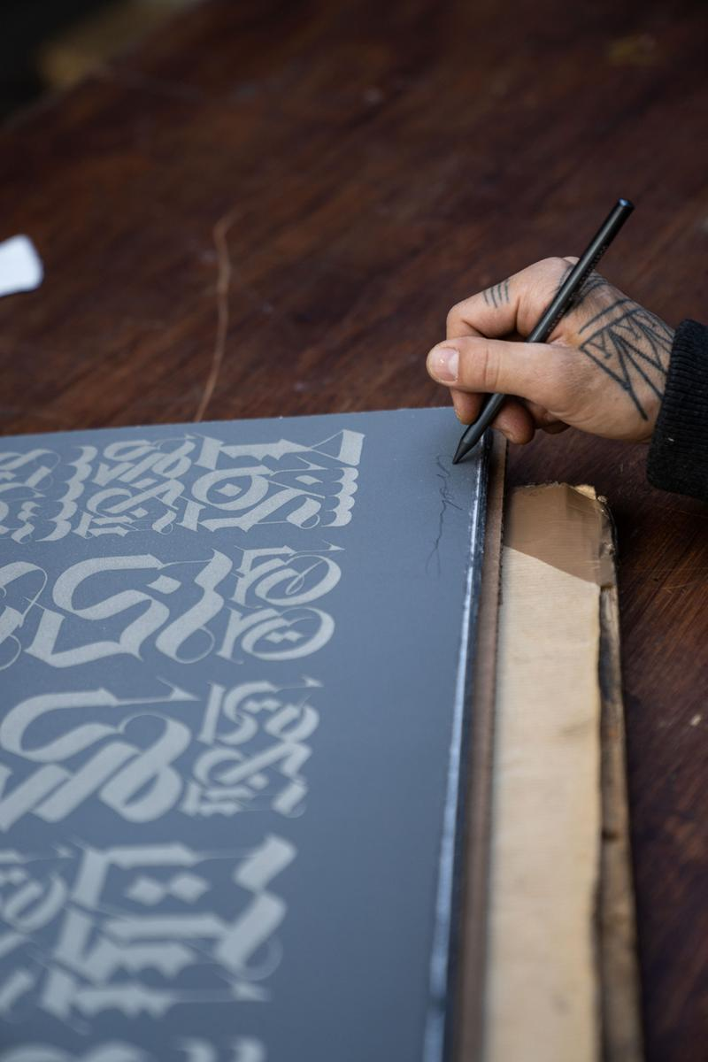 Cryptik 'The Divine Letter' Lithograph Print Them All Release Black Gray White Gold Light Gold Silver Rumi