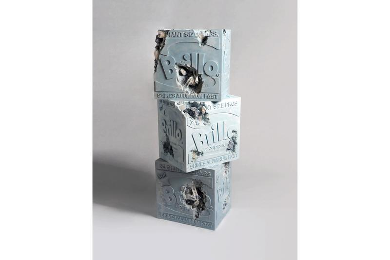 Daniel Arsham 'Eroded Brillo Boxes' Andy Warhol Museum Pittsburgh Sotheby's Contemporary Art Sale Blue Calcite Quartz Hydrostone Blue