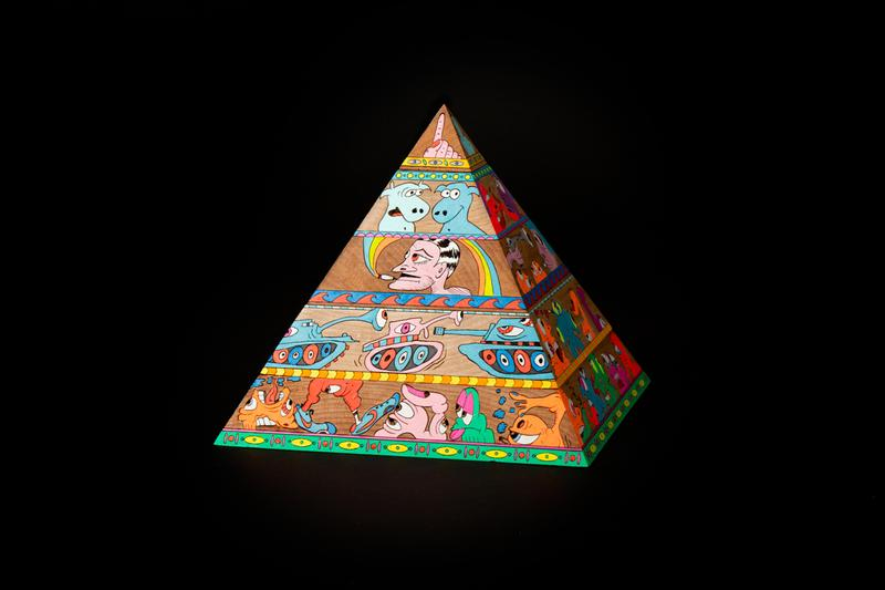 Erik Parker 'WOKE' Painted Wood Sculpture AllRightsReserved Pyramid Psychedelic Heads