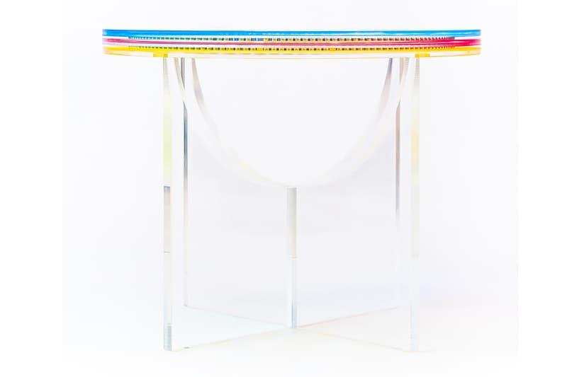 Subtractive Variability Circular Side Table 2 Felipe Pantone Configurable Art furniture acrylic transparent uv paint customizable design