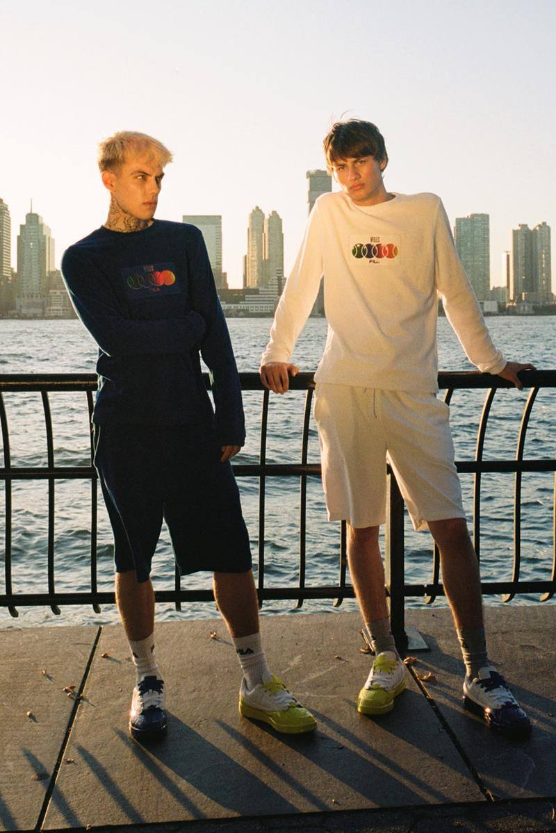 VFILES x FILA Capsule Collection for Greenhouse Sneakers Tennis 88 Green Blue Pink Yellow Dresses Tracksuits Sweatshirts Long sleeves Cropped Tees Shorts