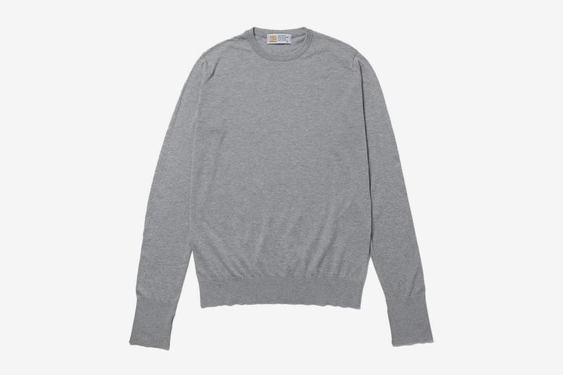 fragment design John Smedley Crewneck essentials sweaters long sleeves pullovers shirts made in england sea island wear thunderbolts logo packaging ginza hiroshi fujiwara