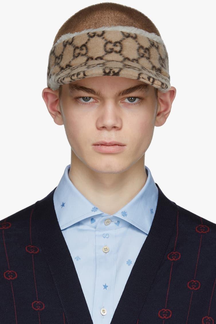 Gucci Cruise 2020 Beige Wool GG Beanie Baseball Cap Visor SSENSE First Look New Season Hats Winter Headwear Warm Alessandro Michele Gift Guide Presents Luxury Fashion Menswear Italy