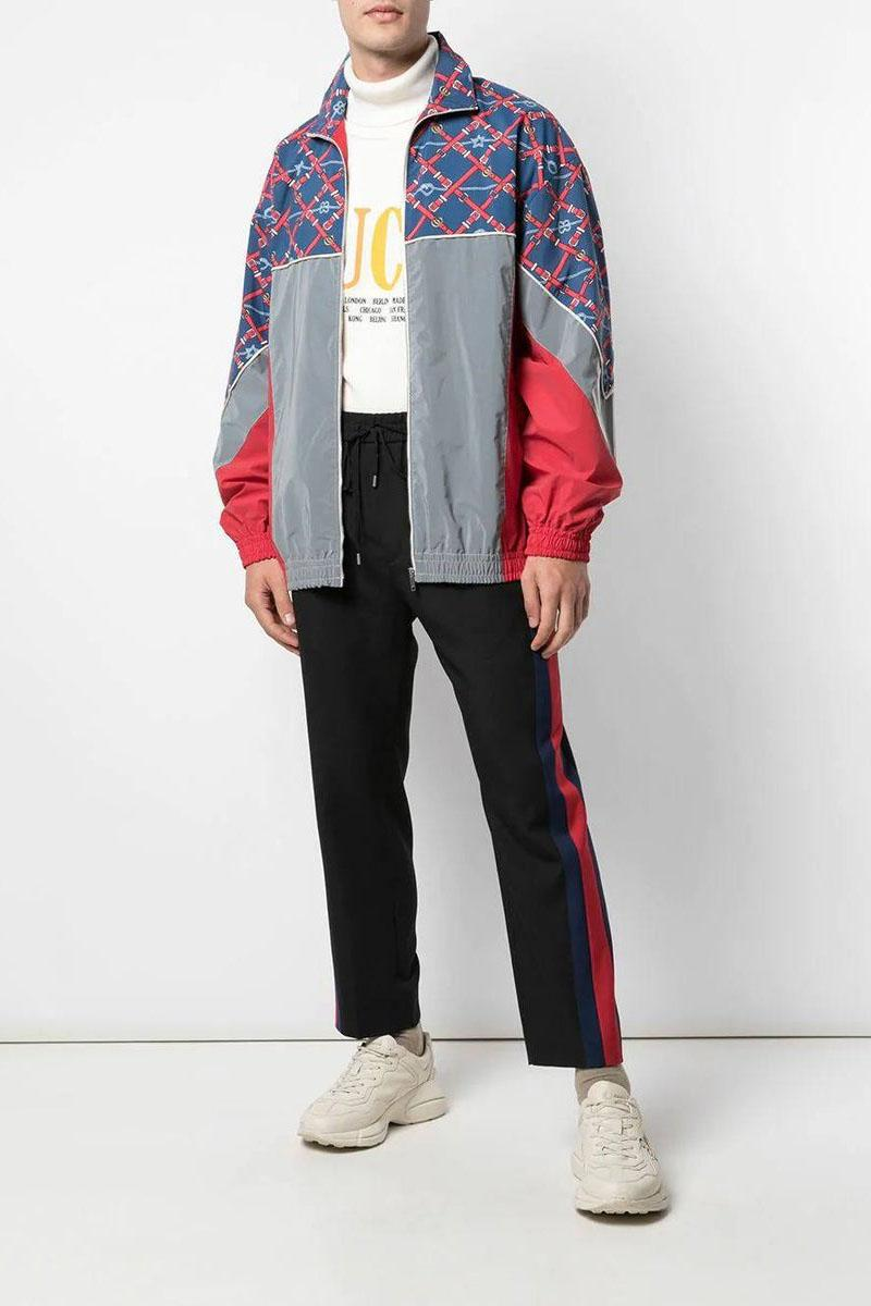 Gucci Graphic-Print Sports Jacket Love Windbreaker Hearts Belts Chains Knots Stars Blue Red Grey Alessandro Michele Fall Winter 2019 FW19 Coats Outerwear The Webster