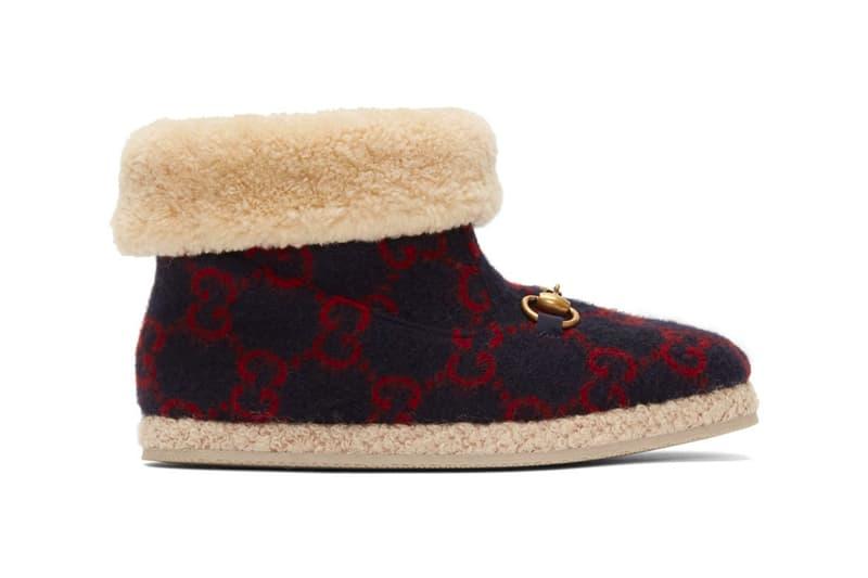 Gucci Navy Wool Fria Boots Release  GG Italian footwear boots shoes luxury wool sheep cozy warm winter monogram