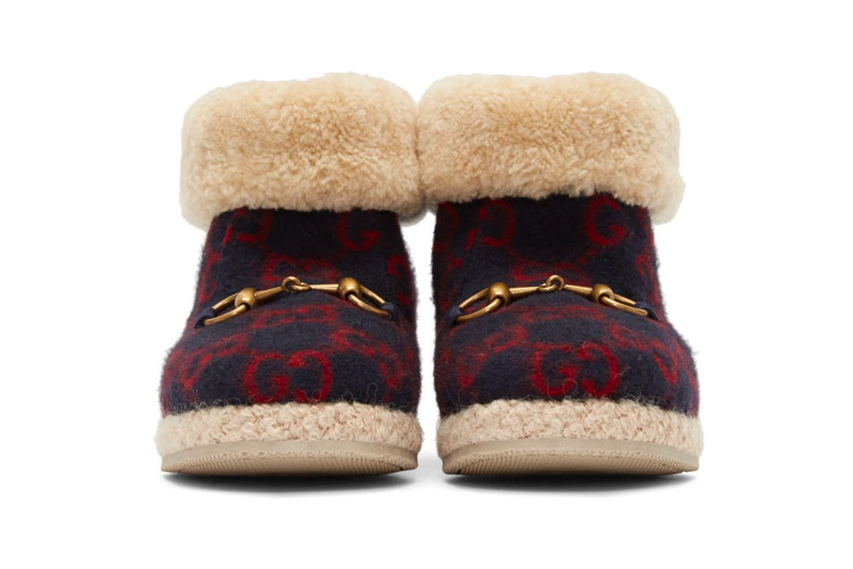 Gucci Navy Wool Fria Boots Release