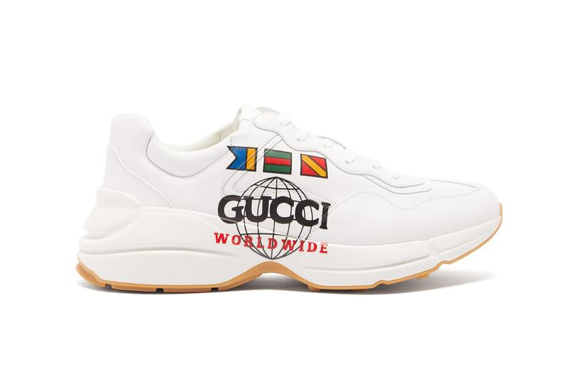 "Gucci Rhyton ""Worldwide"" Sneaker Ivory Leather Imaginary Flag Print Community Unity Footwear Chunky Sneaker Designer Alessandro Michele"
