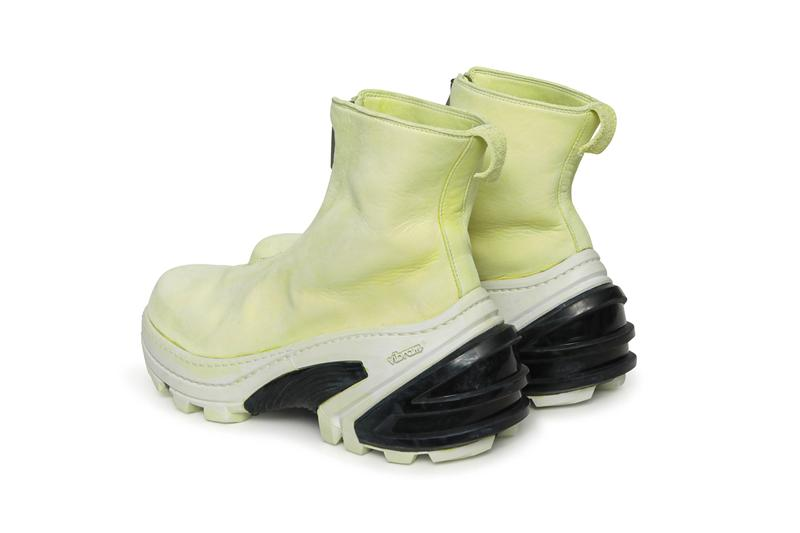 guidi 1017 alyx 9sm matthew m williams front zip boot with vibram sole italy handmade vegetable tanned leather black yellow white release fall 2019