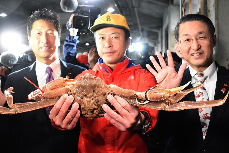 Japanese Snow Crab Sells for $46,000 USD at Auction Hanahista Shoten fish wholesaler Tottori Japan market 1.2kg 2.7lbs crustacean male Ginza Honshu 5 million yen