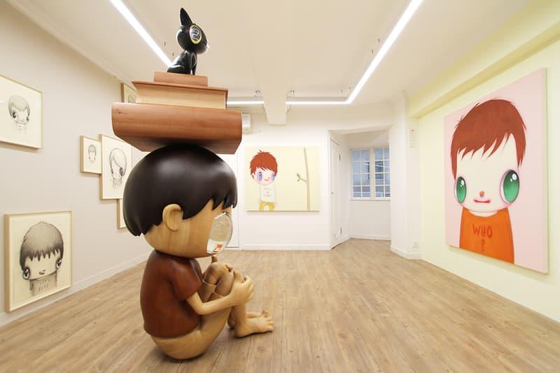 "Javier Calleja ""I did, I do, I will do"" Exhibit Hong Kong AISHONANZUKA Gallery Sculptures Wooden Big Eyes Paintings Drawings Children Cat Books"