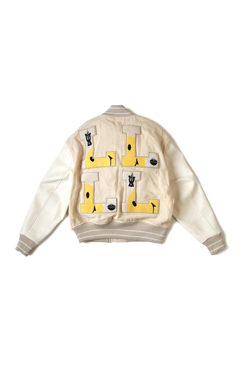 KAPITAL 40s Wool L FIVE Varsity Jackets flight bomber outerwear football collegiate ivy japanese kountry embroidery part cupra L harp smiley face white green black leather asymmetrical