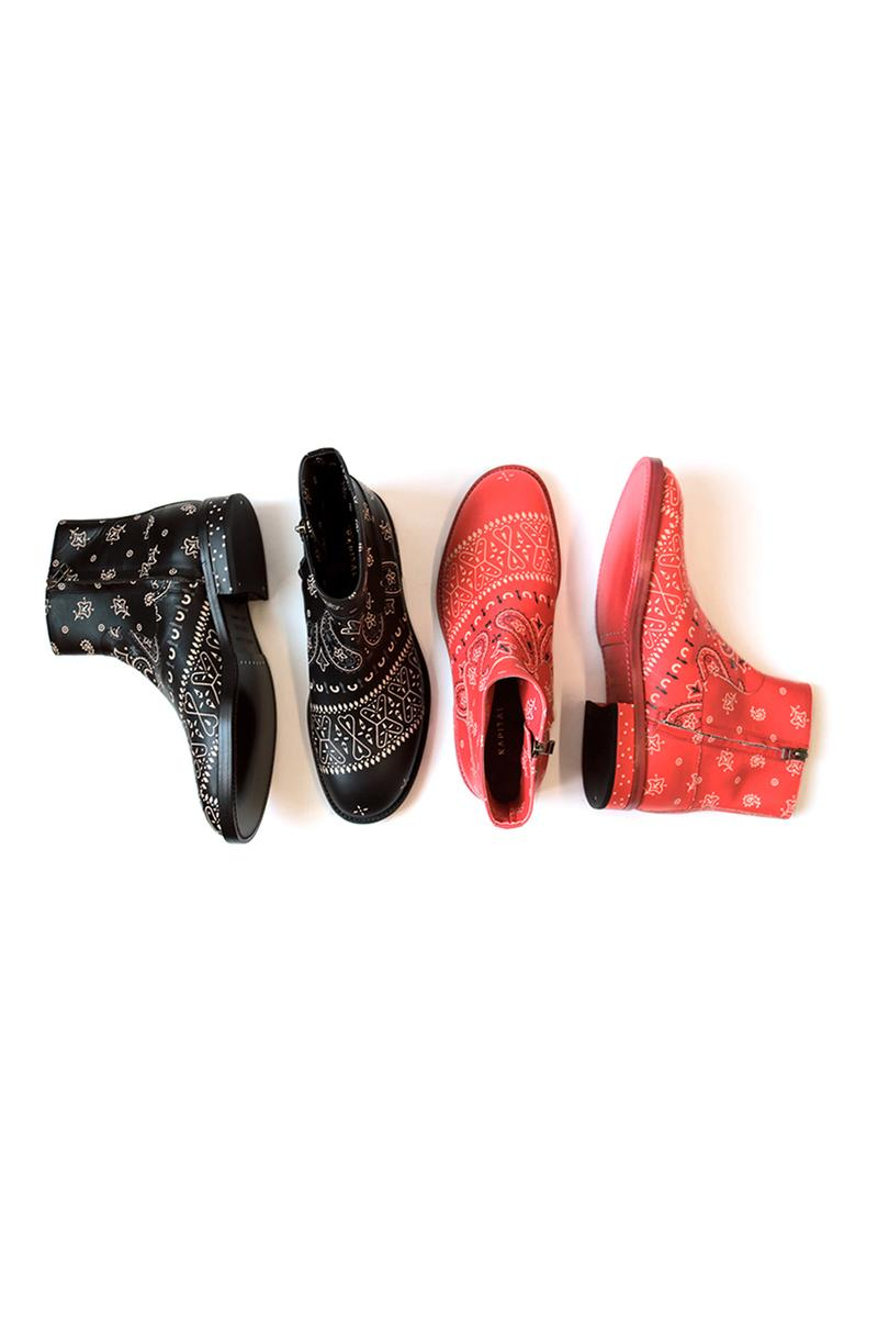 KAPITAL Bandana Chelsea Boots footwear shoes boot paisley tradtional americana motif kountry leather polka dot butterfly dragonfly black red high cut ankle top gum wader