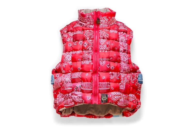 KAPITAL Nylon Bandana KEEL Weaving Vest weaving lattice filling down insulated outerwear fall winter 2019 paisley pattern utility wapi sabi for peace ripstop handmade knitted