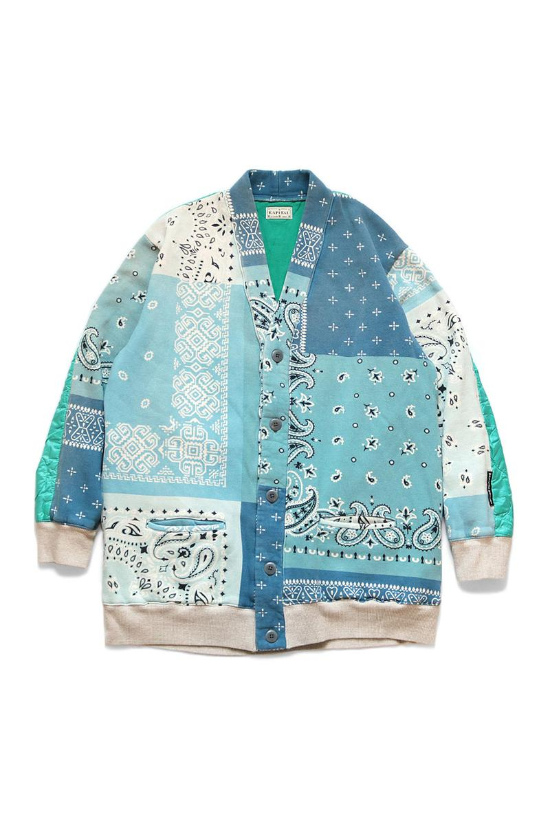 KAPITAL Quilted Bandana Bivouac Cardigan blue black teal purple light nylon back paisley bandana kountry sweaters cardigans japanese streetwear deconstructed patchwork upcycled drop release info price details