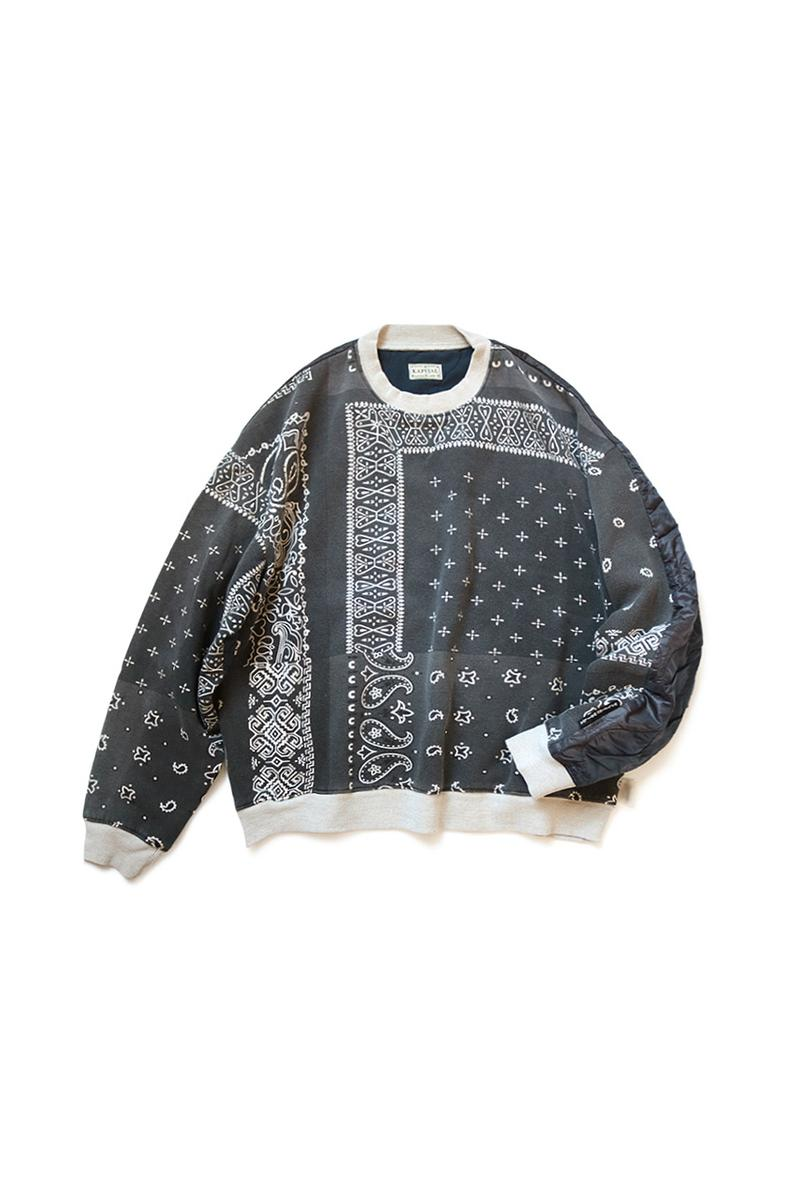 KAPITAL Half Quilted Bandana Sweaters Fleece bivouac BIG japanese tokyo camping outdoor chain stitch boxy paisley patchwork pullovers made in japan waltzing matlda journey product