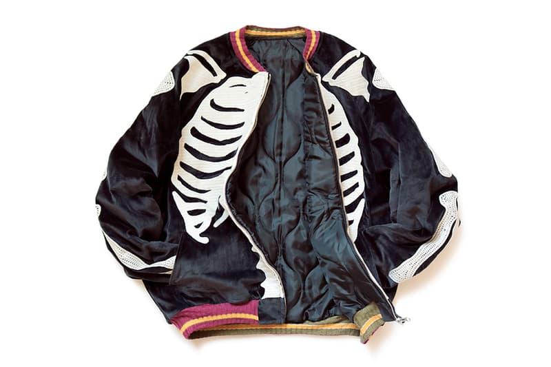 KAPITAL Velveteen BONE Embroidery Souvenir Jacket outerwear fall winter 2019 bomber skeleton velvet kountry nylon plyester batting vintage zip up made in japan japanese streetwear