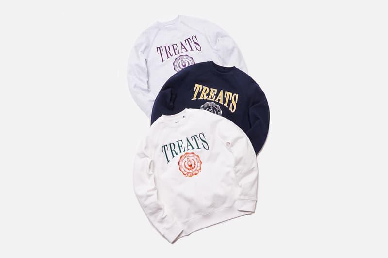 "KITH Treats ""Treats Collegiate"" Collection Release Heavyweight Cotton Crewneck Fleece Sweatshirts White Navy Heather Gray Green Orange Yellow Purple Cereal Box ""Cards Against Vanity"" Card Game"