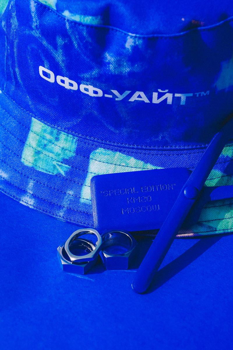 "KM20 Off-White™ 10th Anniversary Capsule Collection ""Temporary"" T-shirt Bucket Hat Stackable Rings Zip Tag Blue A.D.E.D. Graffiti"