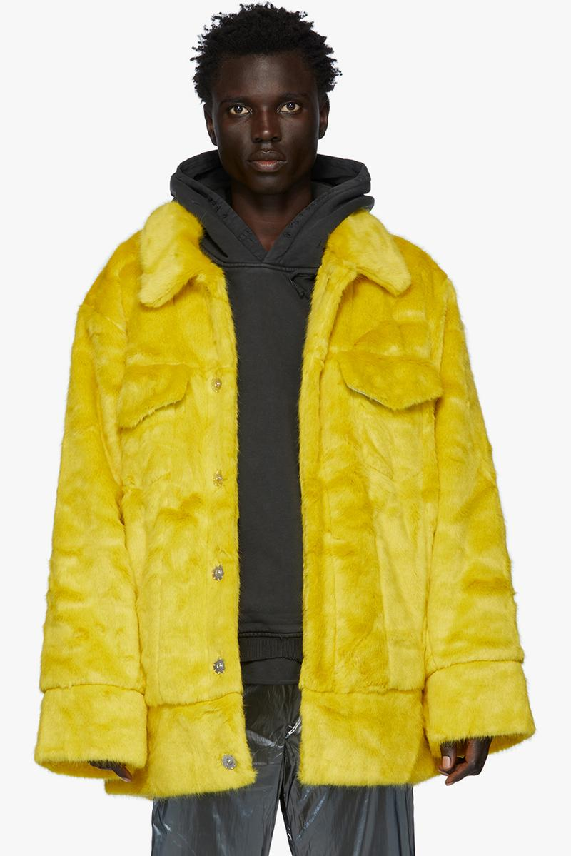 landlord faux fur jackets hoodies yellow matcha navy brown colorway fall winter 2019 long sleeve spread collar coat kangaroo pocket drawstring hood acrylic polyester