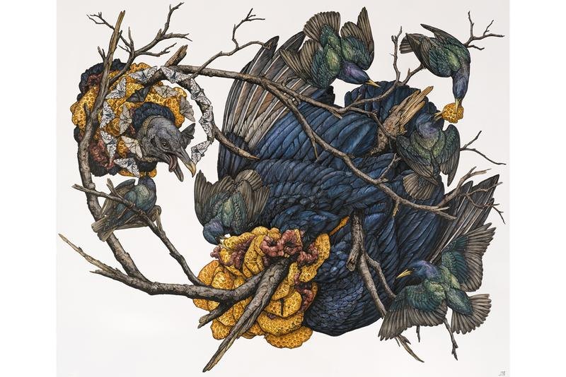 "Lauren Marx ""Chimera"" Exhibition Info Corey Helford Gallery Los Angeles Ink Pen Mixed Media Flora Fauna Birds Snakes Fawn"