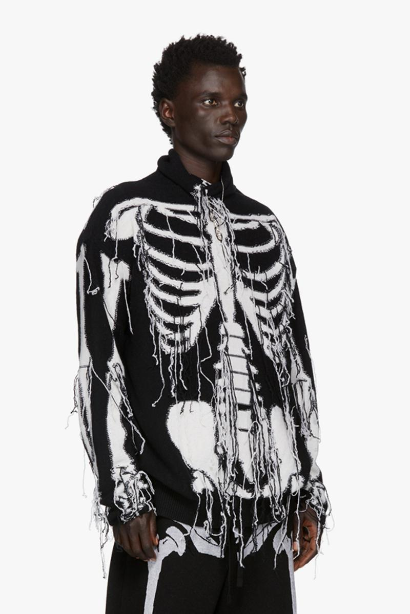 LOEWE William De Morgan Skeleton Turtleneck jonathan anderson english renaissance man fringes made in italy wool sweater graphic bones outerwear fall winter 2019 intarsia yarn knitwear