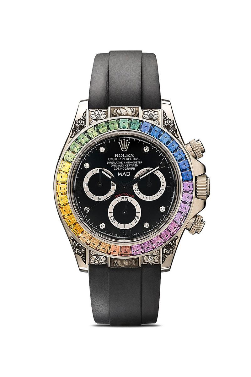 MAD Paris Rolex Daytona Rainbow Sapphire Watch $110k USD Release Information Browns Oyster Perpetual Cosmograph Engraved Buckle 40mm Case Black Wrist Strap