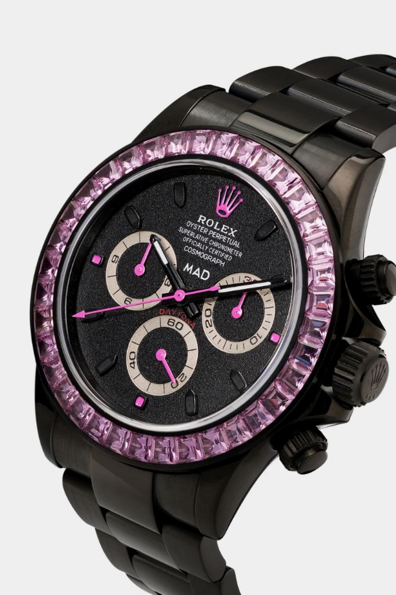 MAD Paris Black Rolex Daytona Pink Sapphire Watch timepieces accessories browns fashion