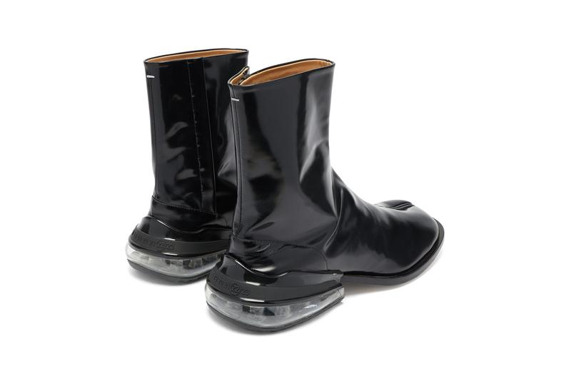 maison margiela tabi Air Bag Heel split toe leather boots black patent fall winter 2019