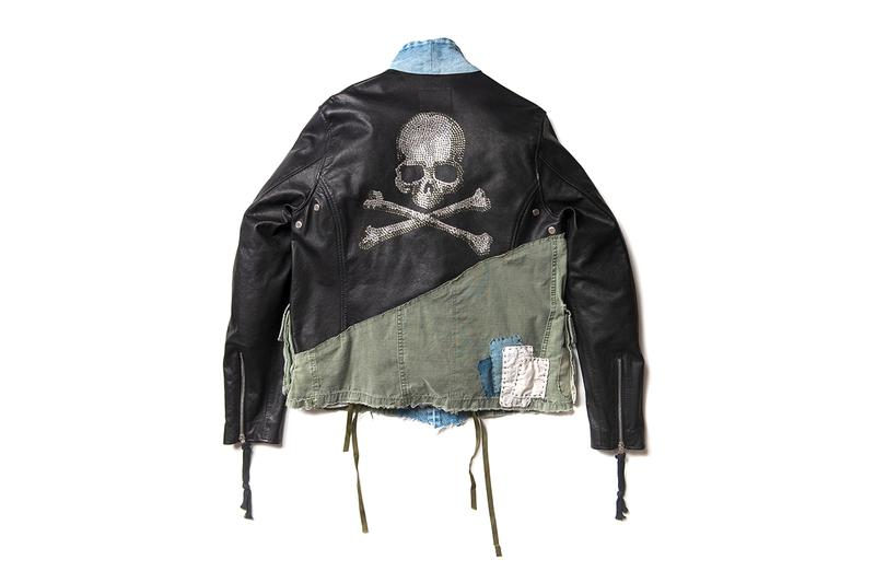 mastermind JAPAN x Greg Lauren FW19 Capsule Collaboration collection fall winter 2019 isetan mens maxfield la patchwork leather jacket military denim jeans skull logo flannel shirt army trucker hoodie shirt
