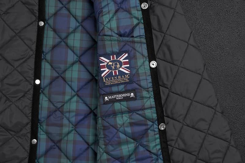 mastermind WOLRD x Lavenham Denham Jacket Release Information Collaboration Outerwear Fall Winter 2019 FW19 First Look Black Tartan Lining Skull and Cross Bones Emblem Metal Motif Japan British
