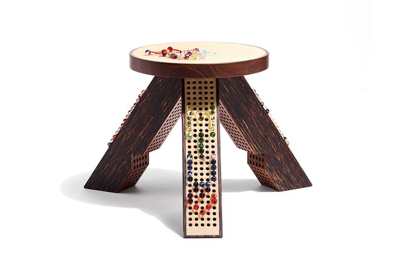 Miu Miu & M/M Paris 'M/Marbles Stool' Design Miami Palm Wood Crepe Rubber Hand-Blown Murano Glass Pegs Design Miami 2019 Art Basel