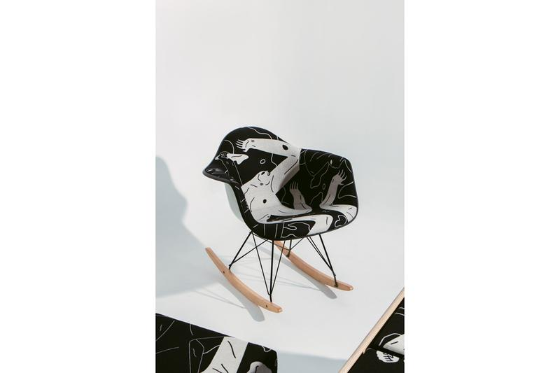 Cleon Peterson x Modernica Limited Edition Furniture Release 'Land of Shadows' Black White Figures Case Study Furniture Daybed Sectional Upholstered Rocker Chair