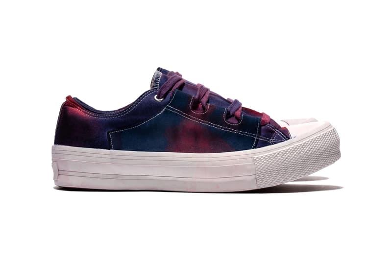 NEEDLES Asymmetric Ghillie Sneaker Over Dye Paint Splatter uneven tie dye shoes sneakers footwear trainers runners nepenthes keizo shimizu streetwear japanese mismatch