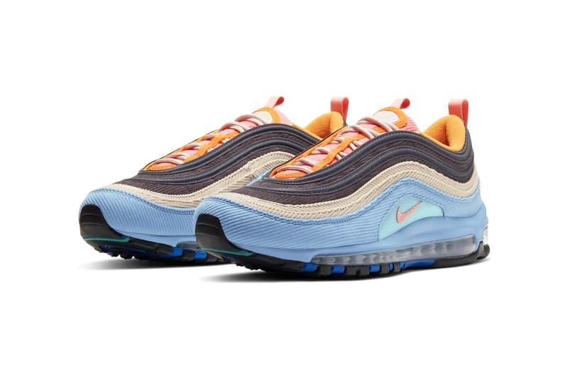 nike air max 97 98 corduroy CQ7512 046 462 desert sand light blue CQ7513 044 814 thunder grey amber rise release date info photos price