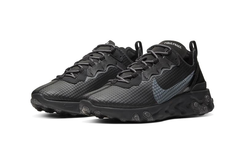 Nike React Element 55 Silver Black Quilted Grid Release Info CI3835-001 CI3835-002 grey white