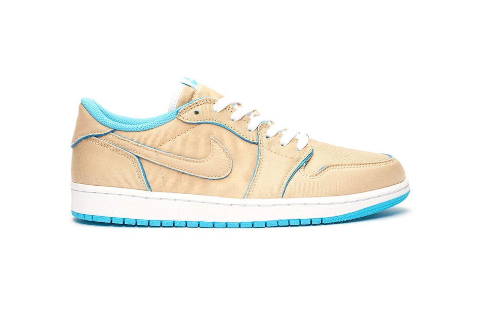 "Official First Look at the Tear-Away Nike SB Air Jordan 1 Low QS ""Desert Ore/Royal Blue"""