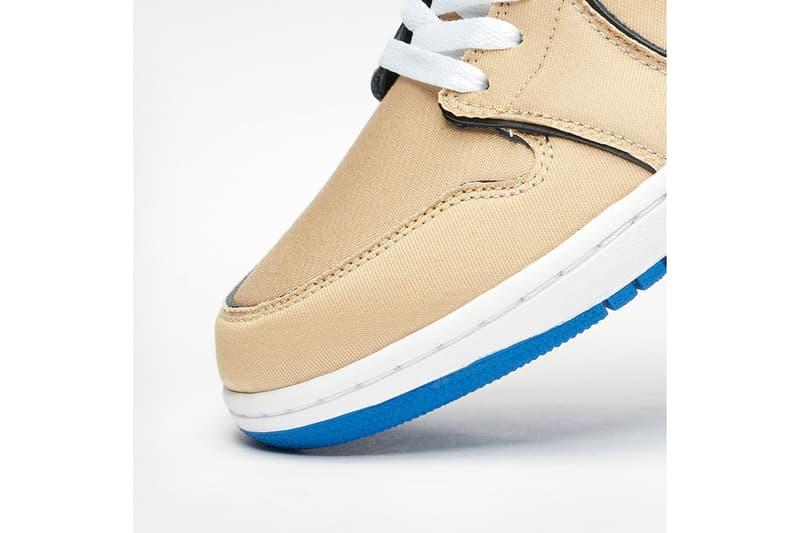 "Nike SB Air Jordan Low QS ""Desert Ore/Royal Blue"" Release Information Closer Look Eric Koston Preview Rub Away Fading Uppers Color Changing Lance Mountain Inspired Sneaker Footwear AJ1 Low Air Jordan Brand"