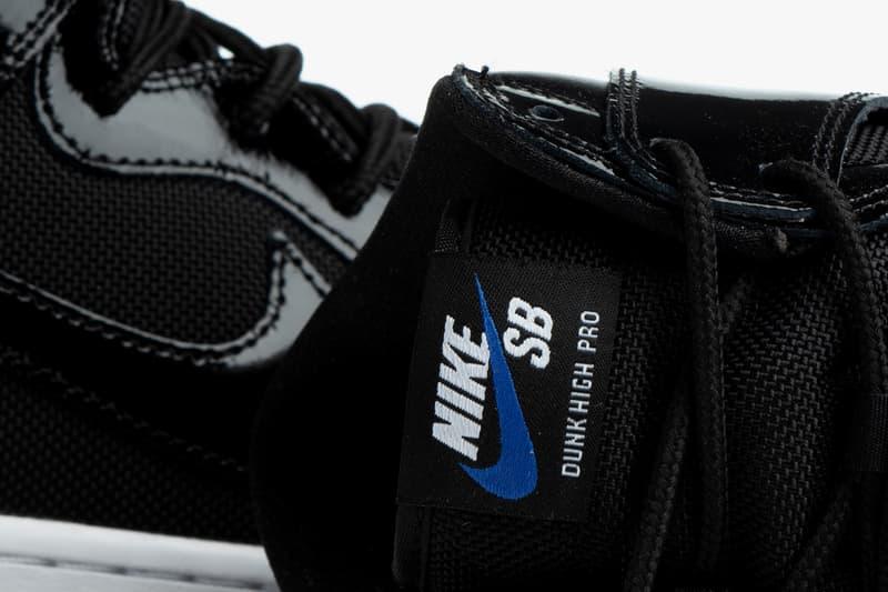 nike sb dunk high pro space jam air jordan 11 BQ6826 002 black white varsity royal patent leather release date info photos price