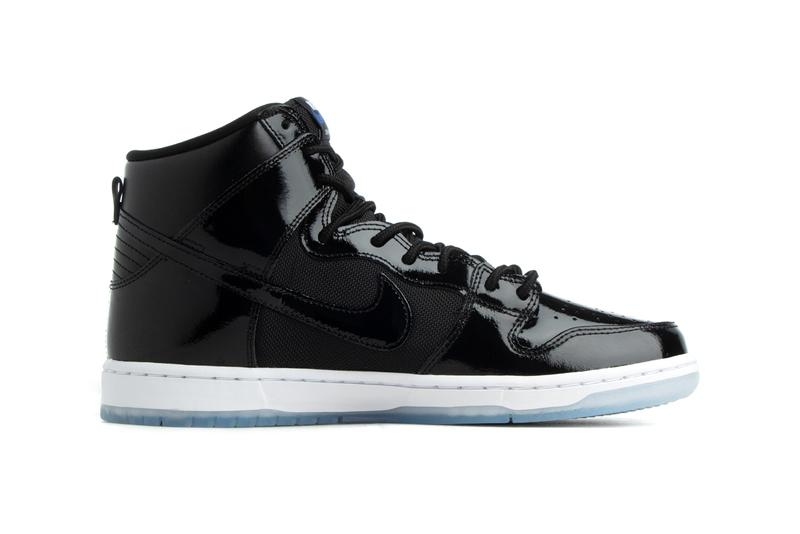 nike sb dunk high pro space jam air jordan 11 BQ6826 002 black white varsity royal patent leather release date info photos price