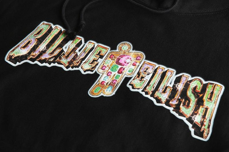 "NTWRK Billie Eilish Collaboration Cyber Monday heavyweight tee Billie Eilish typography hoodie embroidered Champion ""C"" logo oversized Blohsh graphic cuffed ankle hem sweatpants"