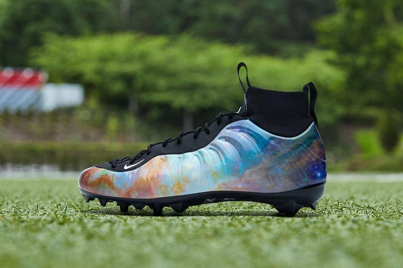 "Odell Beckham Jr. Week 9 Air Foamposite One ""Alternate Galaxy"" Cleats Closer Look Footwear Nike Cleveland Browns OBJ Football NFL Vapor Untouchable Pro 3 Uptempo Cleat"