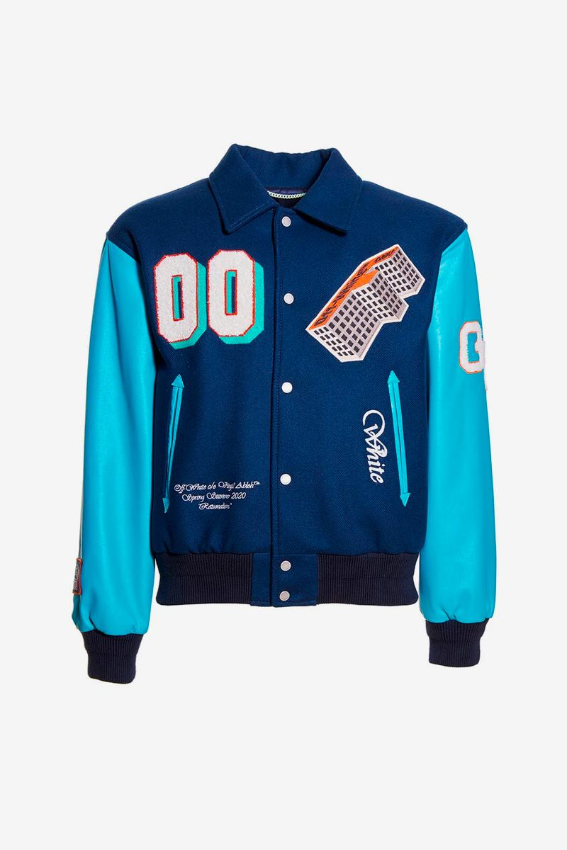 Off-White Golden Ratio Leather Varsity Jacket Release virgil abloh jackets embroidery