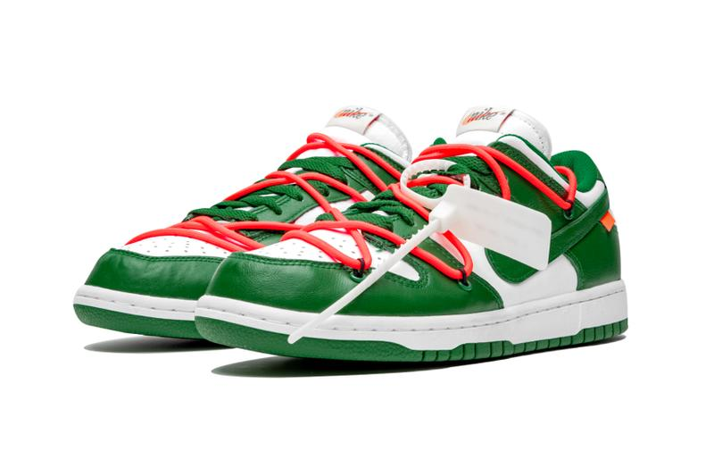 """Off-White™ x Nike SB Dunk Low """"Pine Green"""" stadium goods virgil abloh closer look better detailed collaborations release info yellow blue navy"""