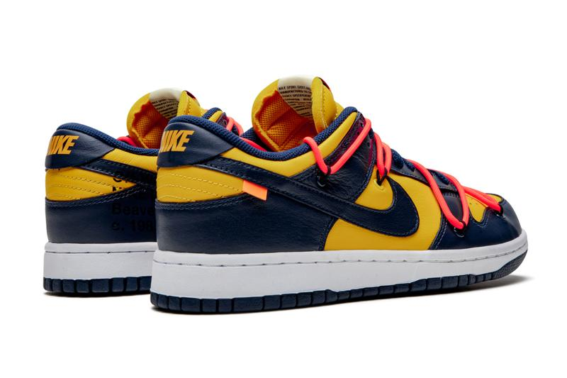 "Off-White x Nike Dunk Low ""University Gold"" Beauty Shots Revealed"