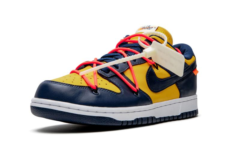"""Off-White™ x Nike SB Dunk Low """"University Gold"""" stadium goods virgil abloh closer look better detailed collaborations release info yellow blue navy"""