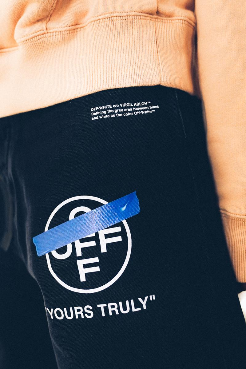 "Off-White™ ""YOURS TRULY"" Capsule Collection Hoodies T-shirts Mock Necks Shirts Button Down Long Sleeves Bucket Hats Denim Shorts Salmon White Black Tape"
