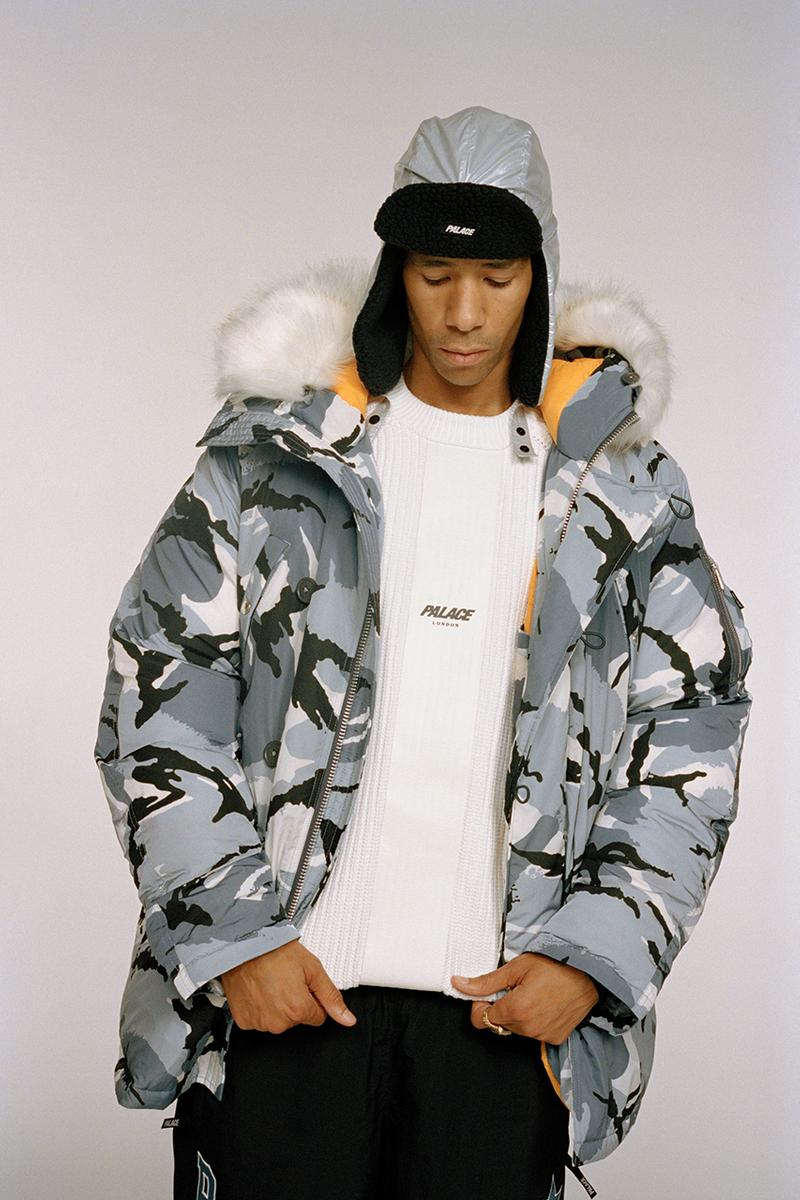 palace skateboards ultimo 2019 lookbook collection buy cop purchase london japan la los angeles new york store release information tracksuit puffa jacket parka camouflage