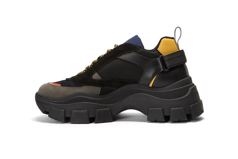Prada Block Low Chunky Sneakers Black Blue Red Yellow Tactical Technical Suede Leather Mesh New Silhouette Miuccia Prada Contrasting Panels Strap Cop LN-CC Online