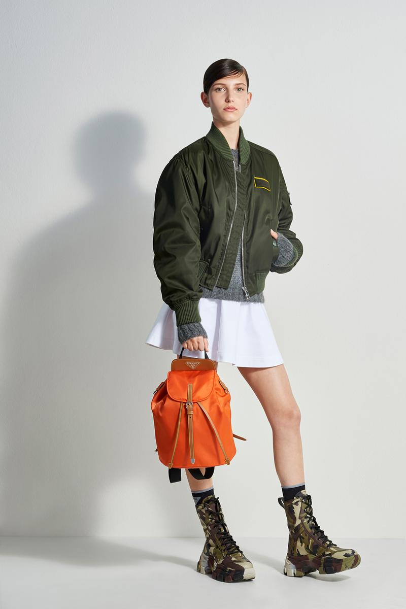 prada escape collection capsule launch fall 2019 outdoor travel gear ready to wear accessories lifestyle clothing compass gabardine nylon outerwear double match shirt camouflage pants