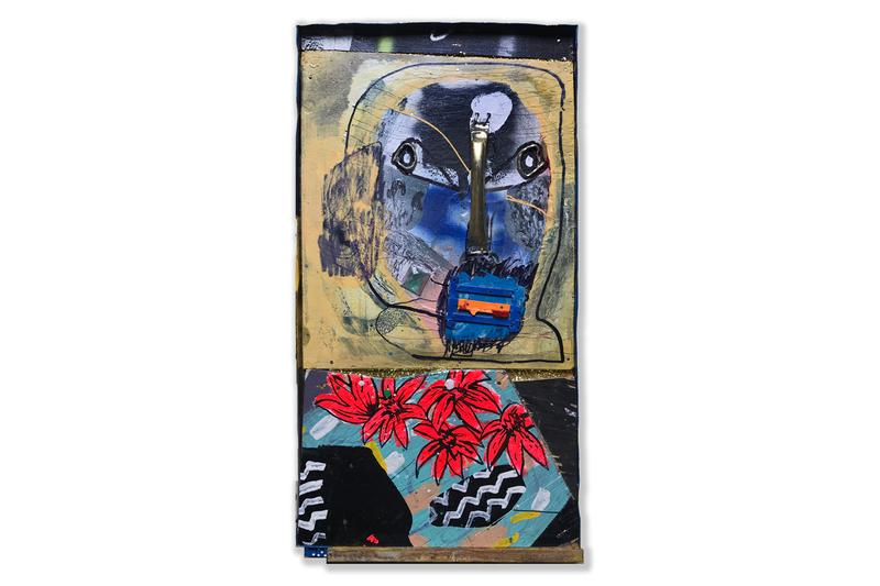 """RAE """"These Daze"""" Exhibition Info Paintings Found-Object Sculptures Plastic Wood Metal"""